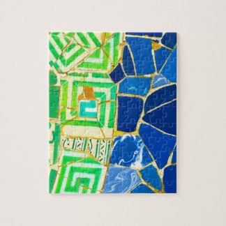 Parc Guell Green Tiles in Barcelona Spain Puzzles