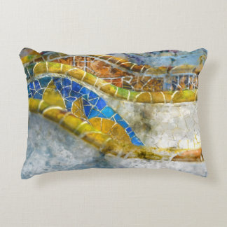 Parc Guell Mosaic Benches in Barcelona Spain Decorative Cushion