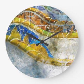 Parc Guell Mosaic Benches in Barcelona Spain Large Clock