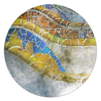 Parc Guell Mosaic Benches in Barcelona Spain Plate