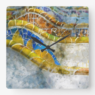 Parc Guell Mosaic Benches in Barcelona Spain Square Wall Clock