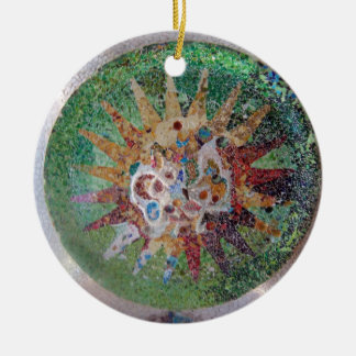 Parc Guell Mosaic Green and Rainbow Round Ceramic Decoration