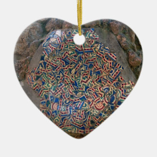 Parc Guell Mosaic Rainbow and Orange Heart Ceramic Heart Decoration
