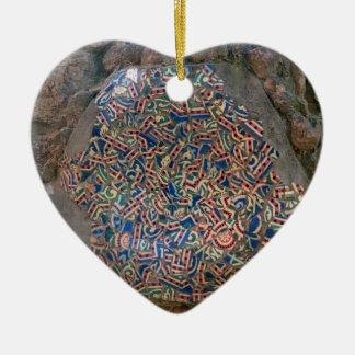 Parc Guell Mosaic Rainbow and Orange Heart Ceramic Ornament
