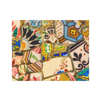 Parc Guell Tiles in Barcelona Spain Canvas Print