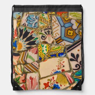 Parc Guell Tiles in Barcelona Spain Drawstring Bag