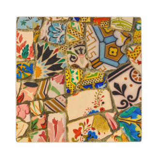 Parc Guell Tiles in Barcelona Spain Wood Coaster