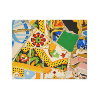 Parc Guell Yellow Ceramic Tiles in Barcelona Spain Canvas Print