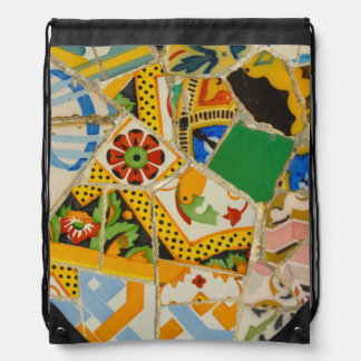 Parc Guell Yellow Ceramic Tiles in Barcelona Spain Drawstring Bag