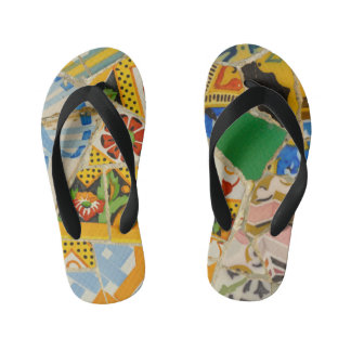Parc Guell Yellow Ceramic Tiles in Barcelona Spain Kid's Thongs