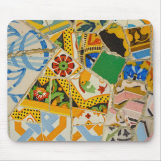 Parc Guell Yellow Ceramic Tiles in Barcelona Spain Mouse Pad