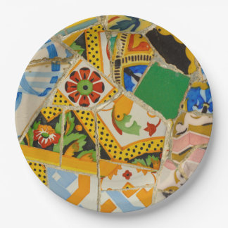 Parc Guell Yellow Ceramic Tiles in Barcelona Spain Paper Plate