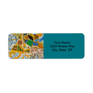 Parc Guell Yellow Ceramic Tiles in Barcelona Spain Return Address Label