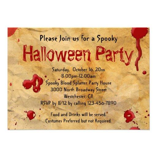 Parchment, Blood Splatter Halloween Invitations