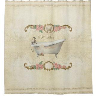 Parchment Le Bain Romantic Bath Rose Home Decor Shower Curtain