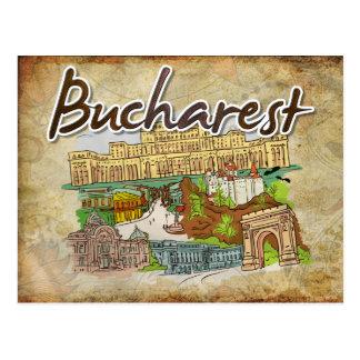 Parchment Paper Bucharest Travel Postcard