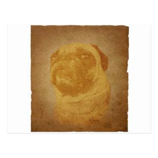 Parchment Pug Postcard