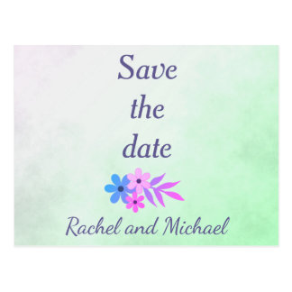 Parchment Purple and Green floral save the date Postcard