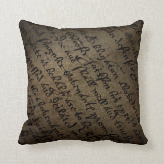 Parchment text with antique writing, old paper cushion