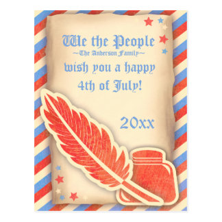 Parchment We the People 4th of July Postcard