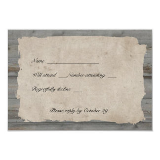 Parchment Wood Rustic Country rsvp with envelopes 9 Cm X 13 Cm Invitation Card