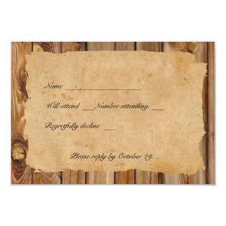 Parchment Wood Tattered Heart rsvp with envelopes Card
