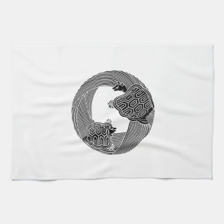Parent and child turtle tea towel