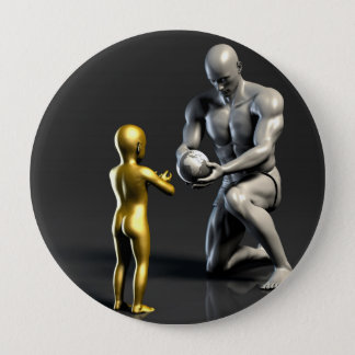 Parent Teaching Child as a Concept in 3D 10 Cm Round Badge