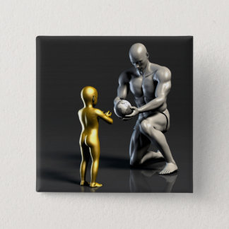 Parent Teaching Child as a Concept in 3D 15 Cm Square Badge
