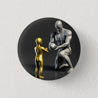 Parent Teaching Child as a Concept in 3D 3 Cm Round Badge