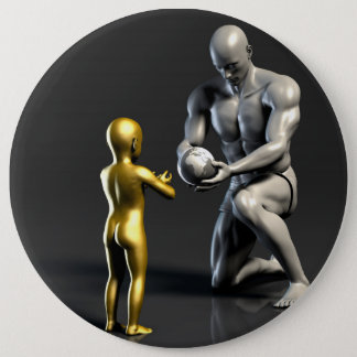 Parent Teaching Child as a Concept in 3D 6 Cm Round Badge