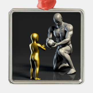Parent Teaching Child as a Concept in 3D Silver-Colored Square Decoration