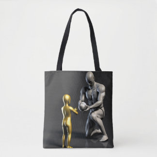 Parent Teaching Child as a Concept in 3D Tote Bag