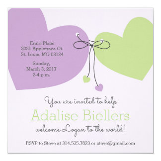 Parent-with-Child Hearts Baby Shower Invite