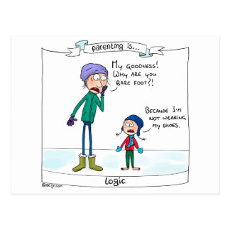 Parenting is... logic postcard