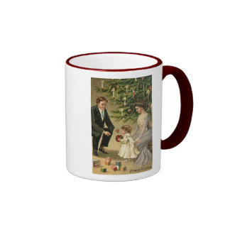Parents and Child Christmas Card Ringer Coffee Mug