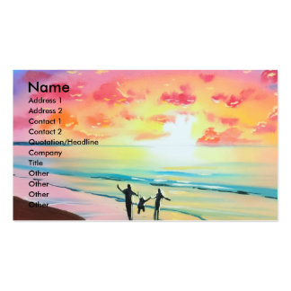 Parents and child sunset seascape pack of standard business cards
