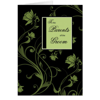 Parents of Groom Congratulations Black and Green Greeting Card