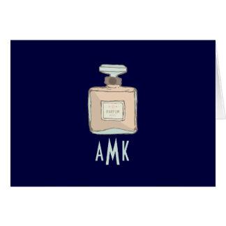 Parfum Bottle Illustration With Monogram Initials Card