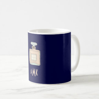 Parfum Bottle Illustration With Monogram Initials Coffee Mug