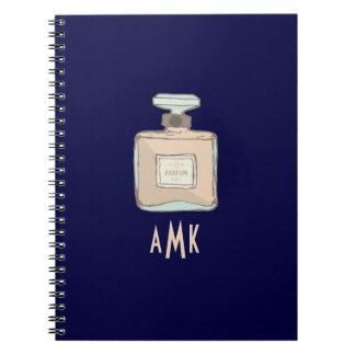 Parfum Bottle Illustration With Monogram Initials Notebooks