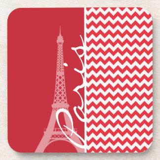 Paris; Alizarin Crimson Chevron Coaster