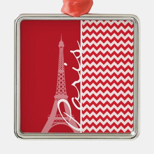 Paris; Alizarin Crimson Chevron Christmas Ornament