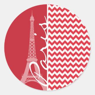 Paris; Alizarin Crimson Chevron Round Stickers