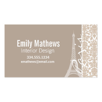 Paris; Almond Color Damask Pattern Double-Sided Standard Business Cards (Pack Of 100)