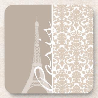 Paris; Almond Color Damask Pattern Drink Coaster
