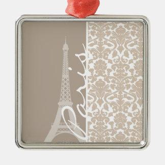 Paris; Almond Color Damask Pattern Ornaments