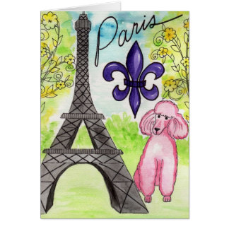 Paris and the Poodle Greeting Card