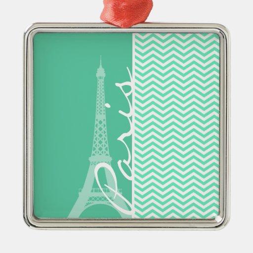 Paris; Aquamarine Chevron Ornaments