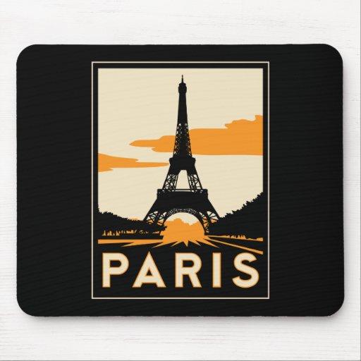 paris art deco retro travel poster mouse mat